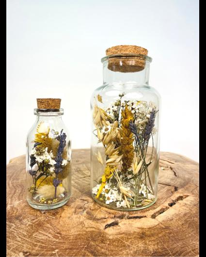 Droogbloemen in glazen potten (geel)