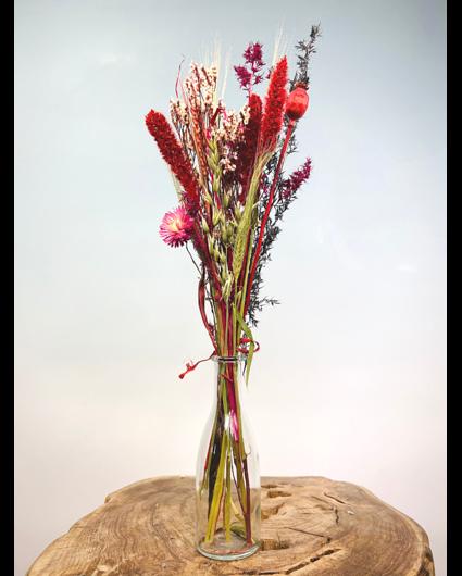 Flesje met droogbloemen (transparant)