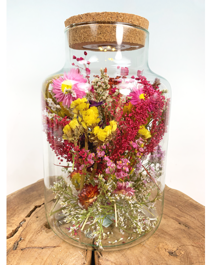 Glazen pot met droogbloemen en verlichting - ⌀17xH25cm