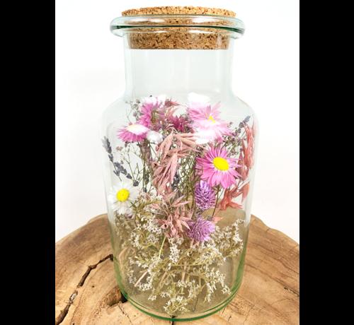 Droogbloemen in glazen pot roze tinten - ⌀15xH26cm