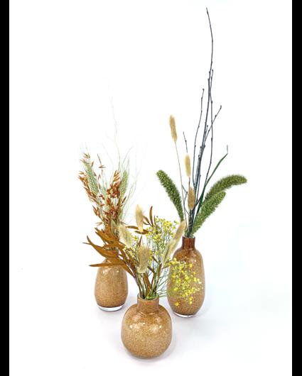 'Orange Forrest' vazen set met droogbloemen