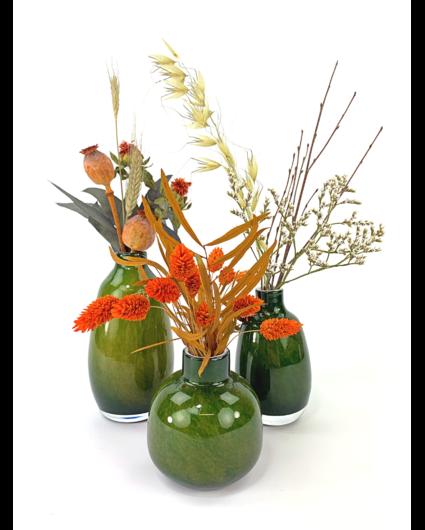 'Green Forrest' vazen set met droogbloemen