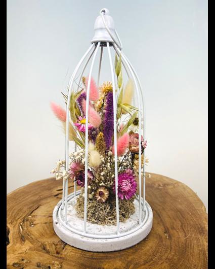 Birdcage met droogbloemen