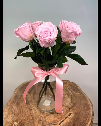 Longlife Rozenbos (5 stuks) roze incl. gratis vaas