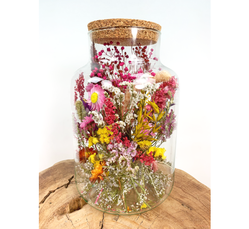 Grote glazen pot met droogbloemen (geverfd) - ⌀17xH25cm