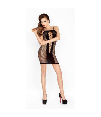 Passion Doorzichtig zwart jurkje met open zijkanten