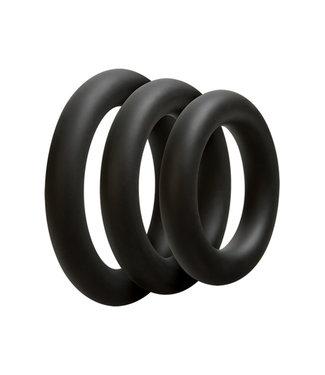OptiMALE Driedelige cockring set - Dik - Zwart