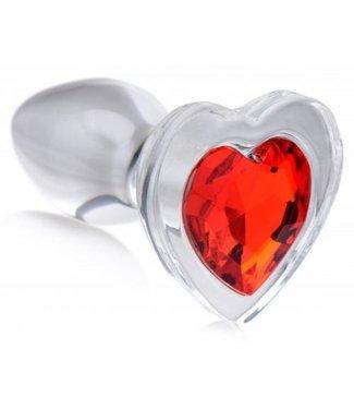 Booty Sparks Red Heart Anaalplug Van Glas Met Steentje - Large