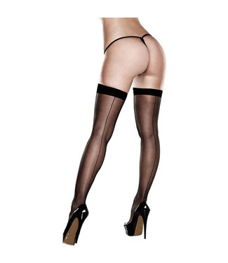 Baci Baci - Sheer Thigh Highs With Backseam With Banded Silicone Stay-Up Queen S