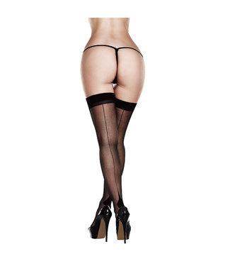 Baci Baci - Sheer Cuban Heel Thigh Highs Queen Size