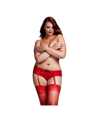 Baci Baci - Rode Roos Open Kruis Boyshort Panty Queen Size