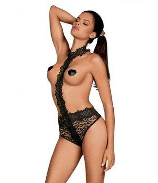 Obsessive Crossita Kanten Body Met Halternek - Zwart