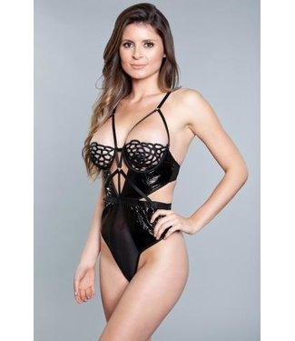 Be Wicked Tiara Body Met Open Cups  - Zwart