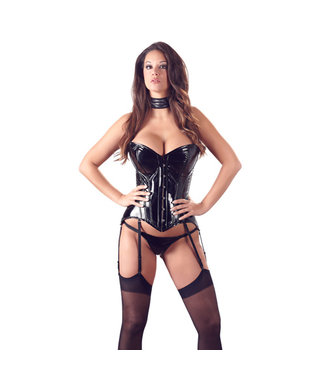 Black Level Strapless Patent Corset With Suspenders