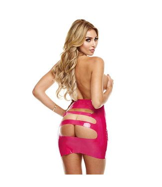 LatexWear Latex Mini Skirt With Open Back - Pink