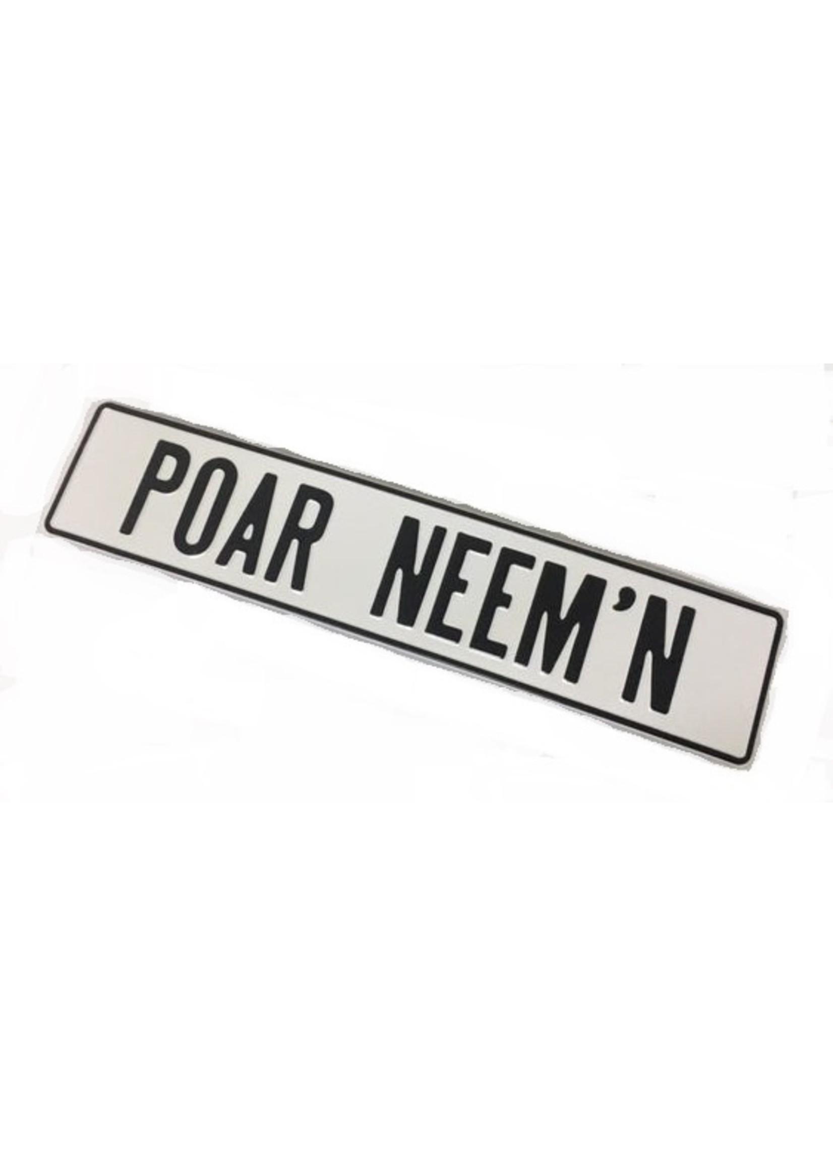 Witte kentekenplaat met naam of tekst
