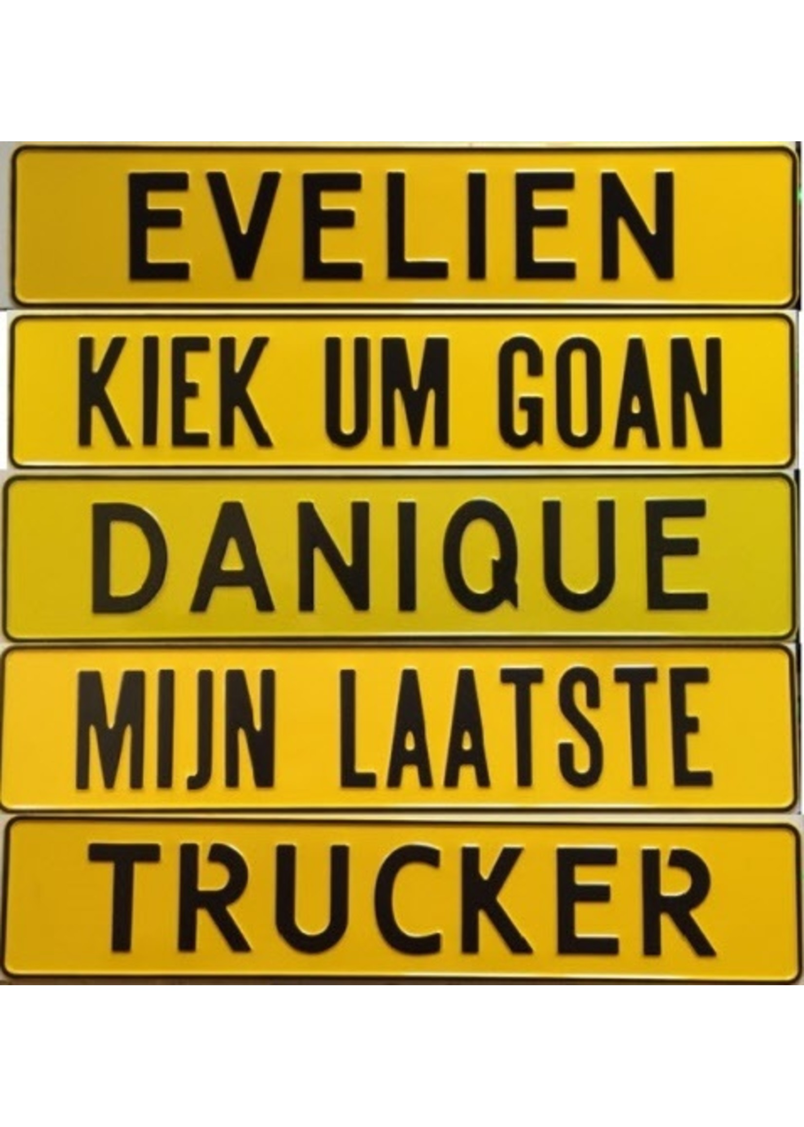 Gele kentekenplaat met naam/tekst