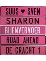 Roze kentekenplaat (52x11 cm)