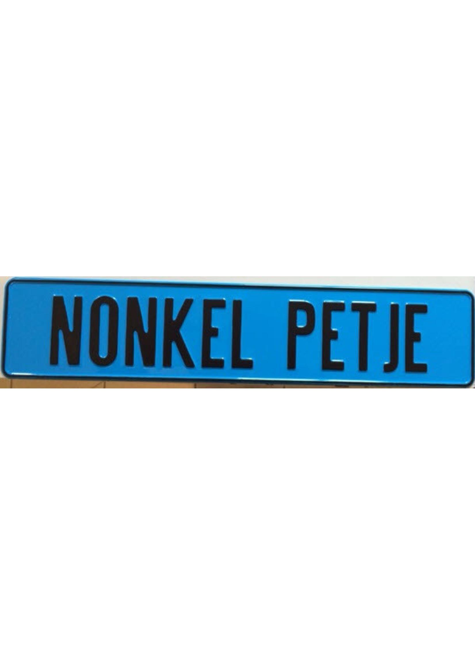 Blauwe kentekenplaat met naam