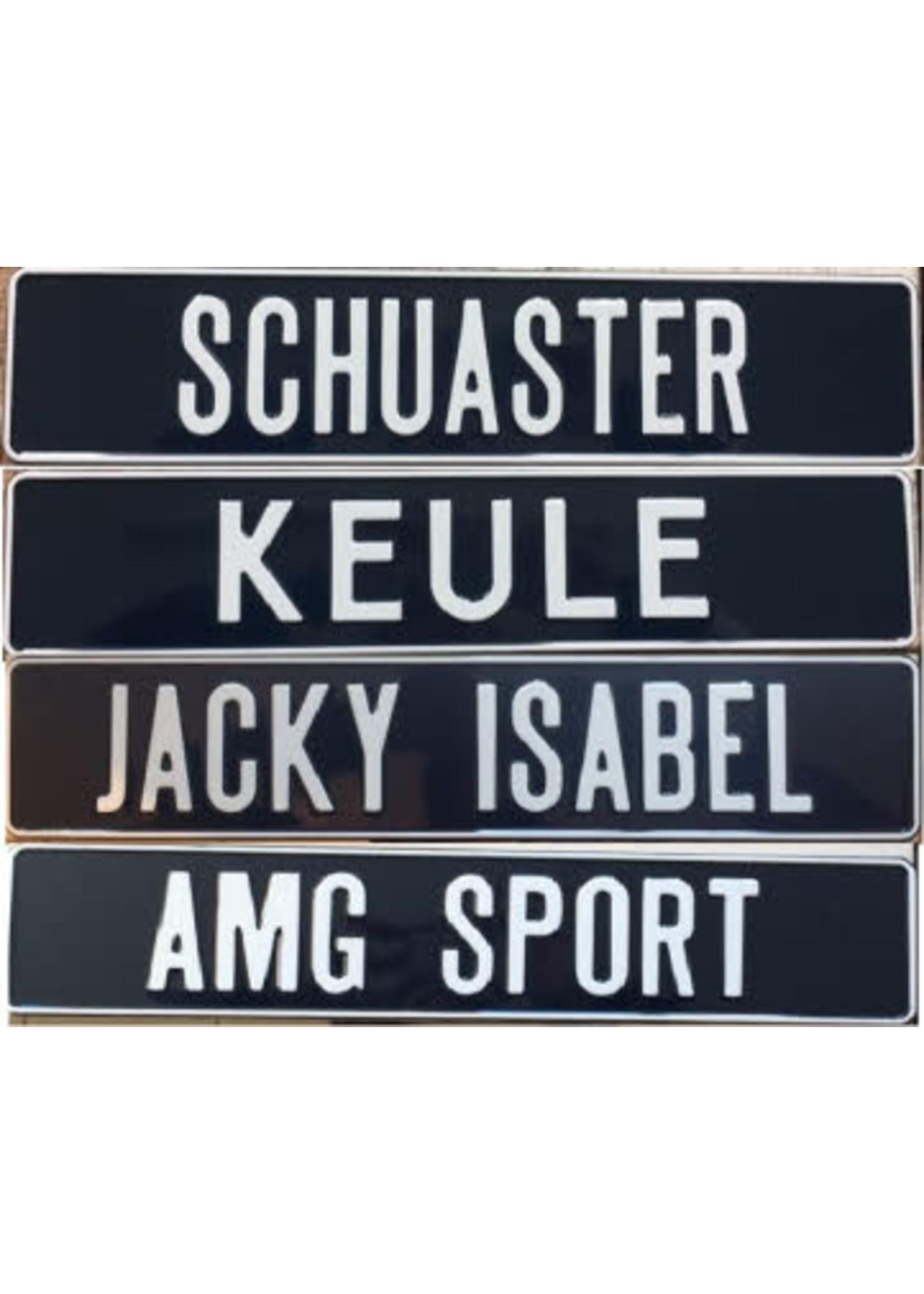 Donkerblauwe kentekenplaat met naam of tekst