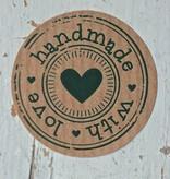 Ronde Kraft sticker handmade with love, 10st