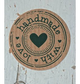 Ronde craft sticker Handmade with love, 10st