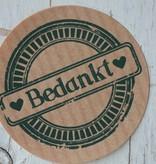 Ronde craft sticker Bedankt, 10st