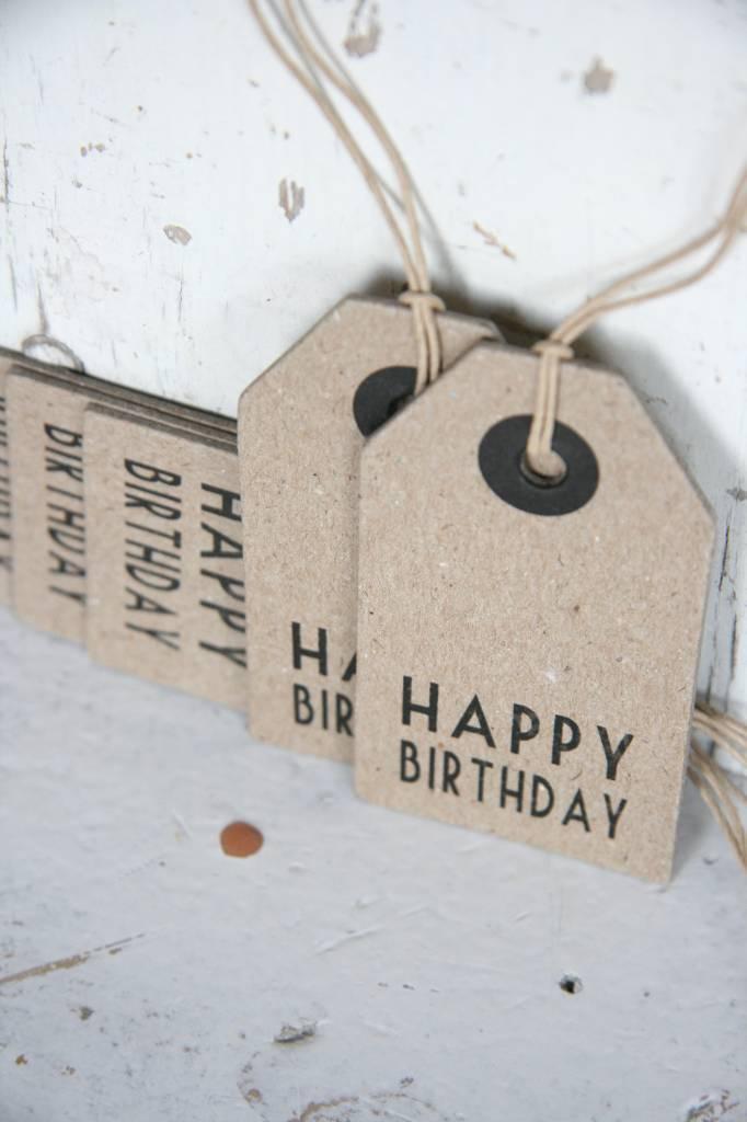 East of India Label karton 4x7,5cm Happy Birthday