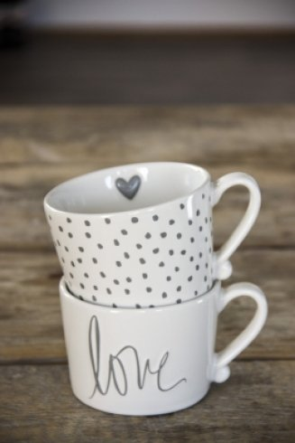 Bastion Collections Mug White/Little dots in Grey