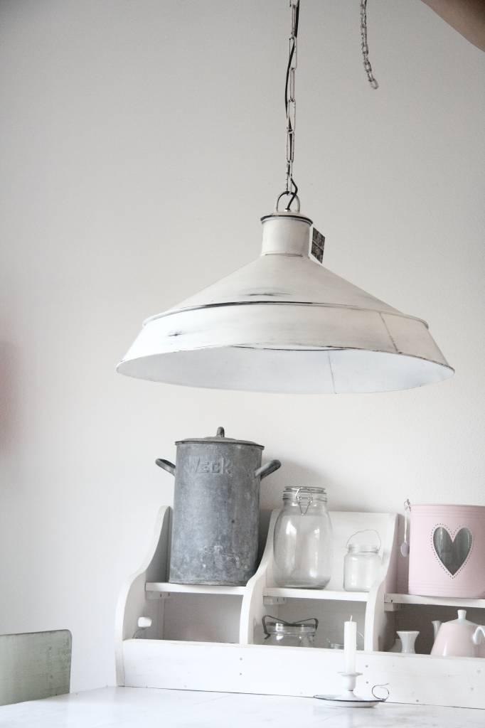 Brocante industrieele lamp wit