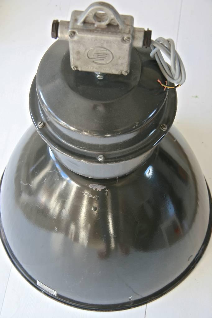 Oude fabriekslamp grijs Ø53cm