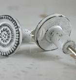 Harveys Metalen knop rond wit/zwart 3,4cm