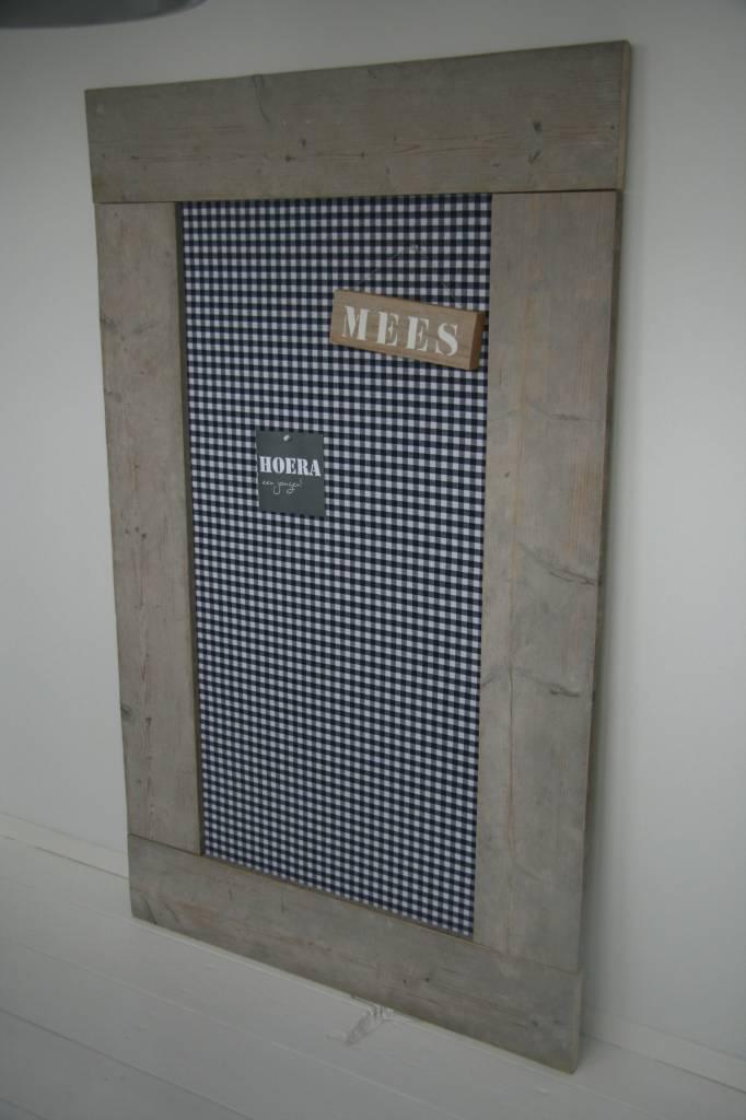 Prikbord steigerhout extra groot (XL) 105x165cm, donkerblauwe ruit