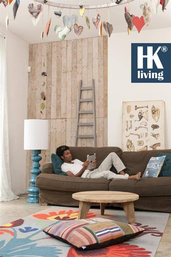 HKliving Ladder decoratie hout 217x56-33cm, grijs