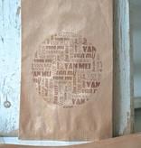 Papieren craft zakjes 12x19cm bruin met tekst, 5 stuks