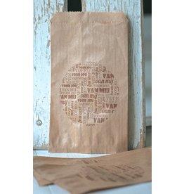Papieren craft zakjes met tekst, 5 stuks