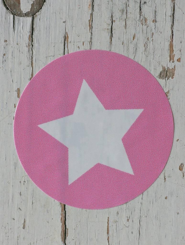 Ronde sticker ster roze, 10st