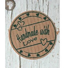 Ronde craft sticker Handmade with love (hartjes), 10st