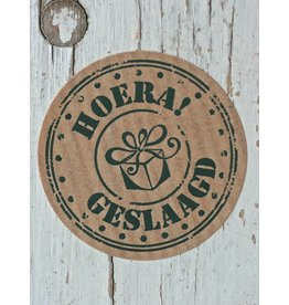 Ronde craft sticker Hoera geslaagd, 5st
