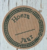 Ronde craft sticker Hoera .... jaar, 5st