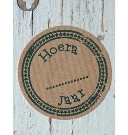 Ronde craft sticker Hoera .... jaar, 10st