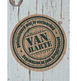 Ronde craft sticker Van harte gefeliciteerd, 10st