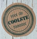 Ronde craft sticker Voor de coolste meester, 5st