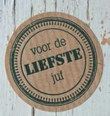 Ronde craft sticker Voor de liefste juf, 5st