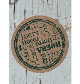 Ronde craft sticker Hoera, 10st