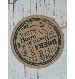 Ronde craft sticker Hoera, 10st