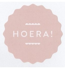 Ronde sticker hoera kartel, soft roze, 10st