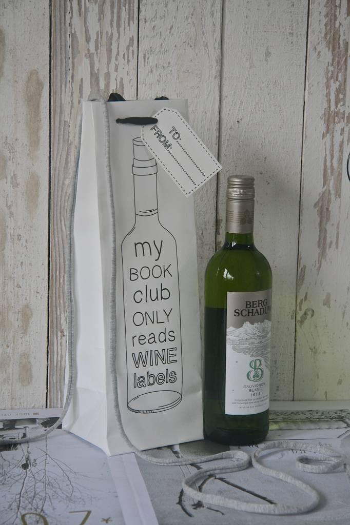 Wijntasje giftbag karton wit, 12x37cm