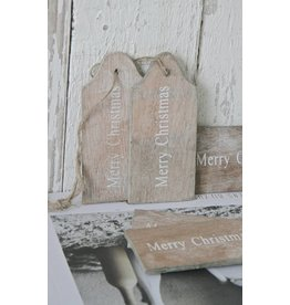 Houten label Merry Christmas