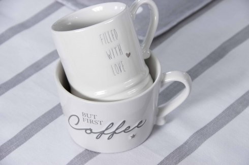 Bastion Collections Mug Small White/Filled with love in Grey